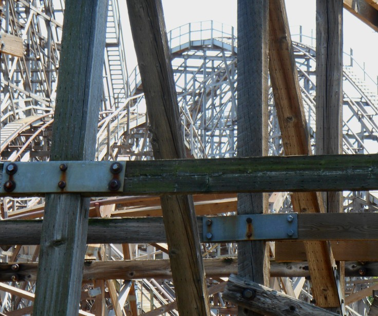 Wooden Roller Coaster Close Up