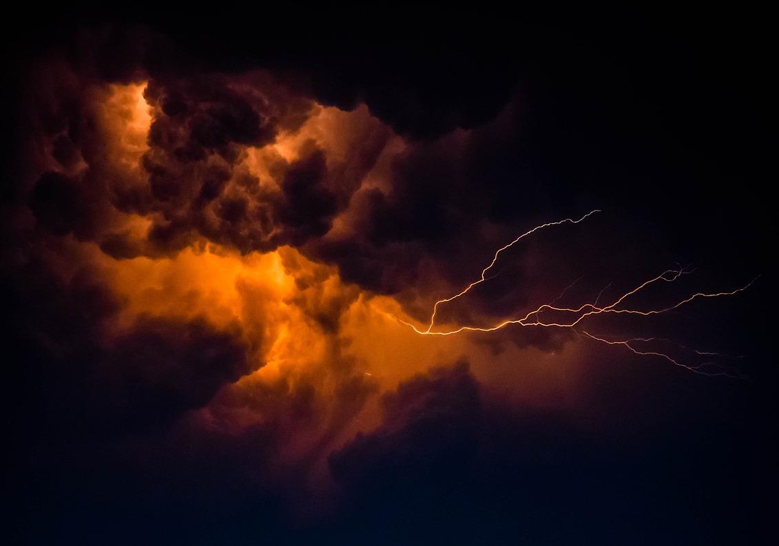 Storm Lightning Orange Clouds