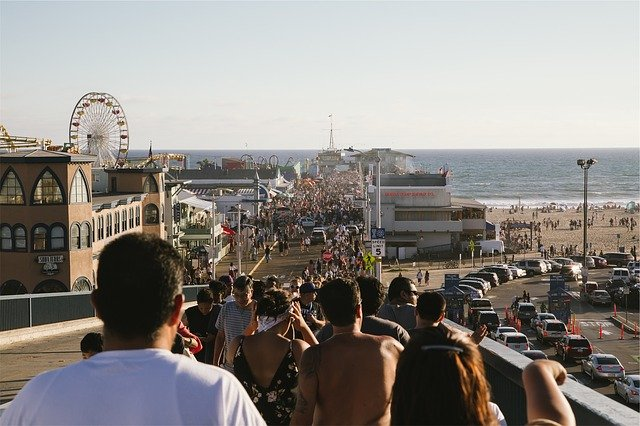 Crowd at Santa Monica Pier