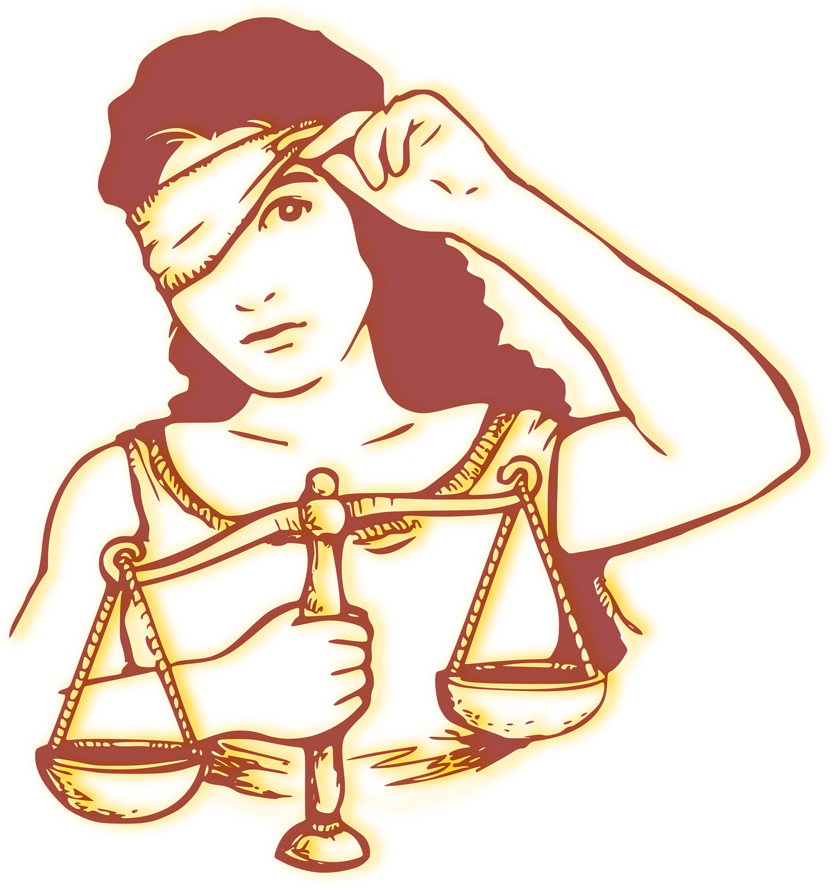 lady justice unblindfolded