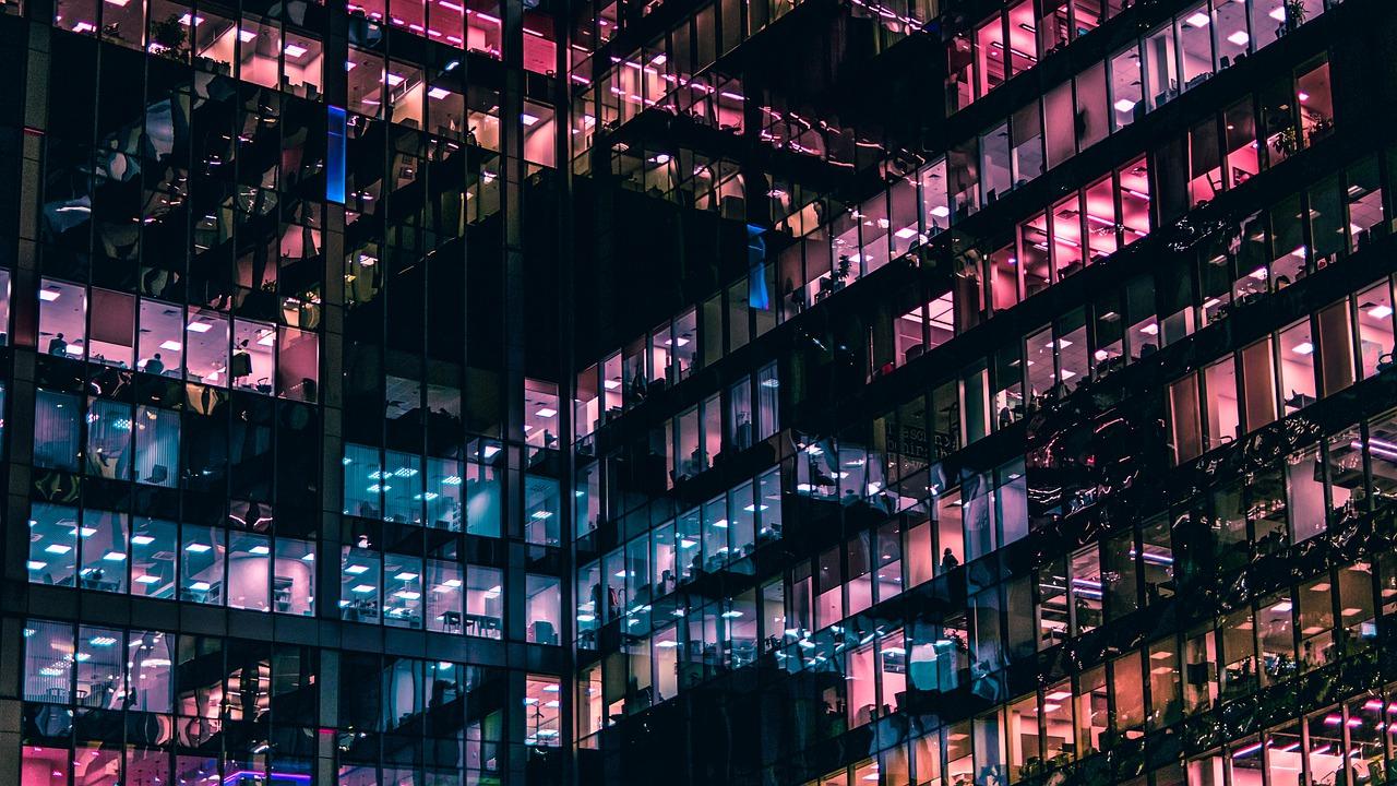 City Office Windows Night