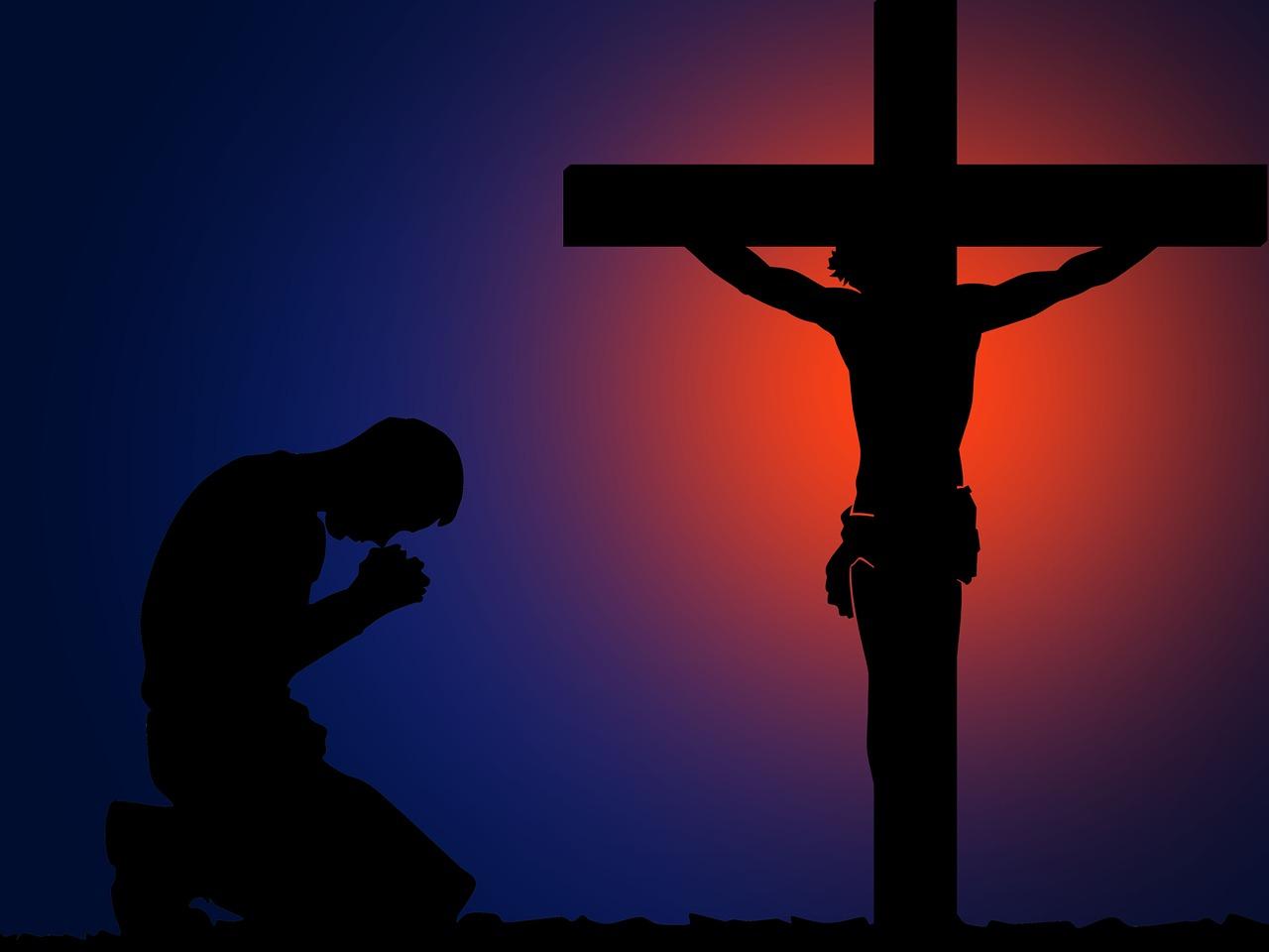 Cross Pray Purple silhouette